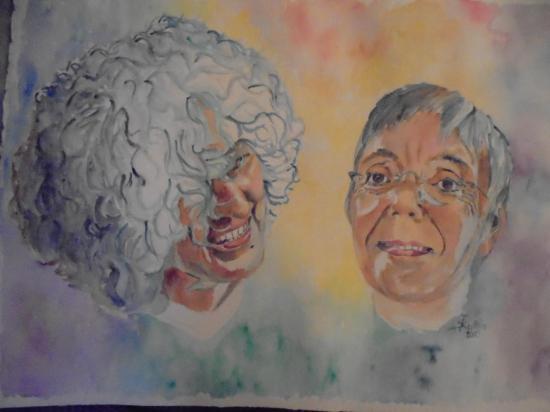 Autoportrait en compagnie d'Angelo, aquarelle 2015
