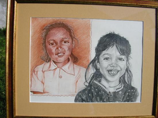 double portrait,sanguine et graphite