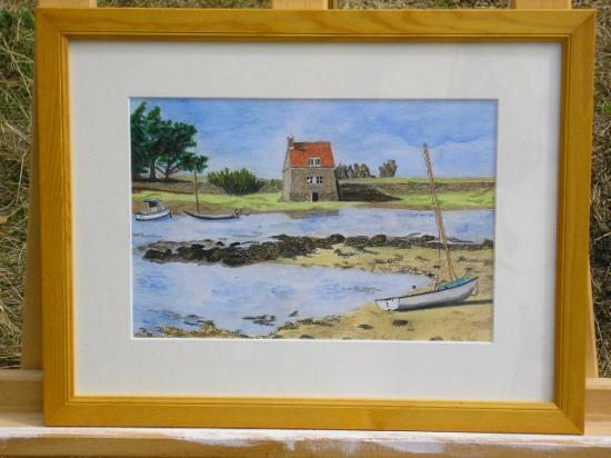 le moulin a marée, dessin aquarellé