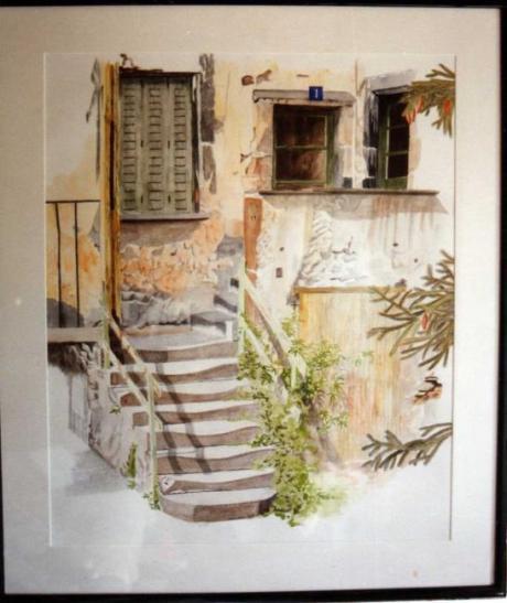 l'escalier, dessin aquarellé