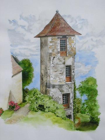 Tour, dessin aquarellé